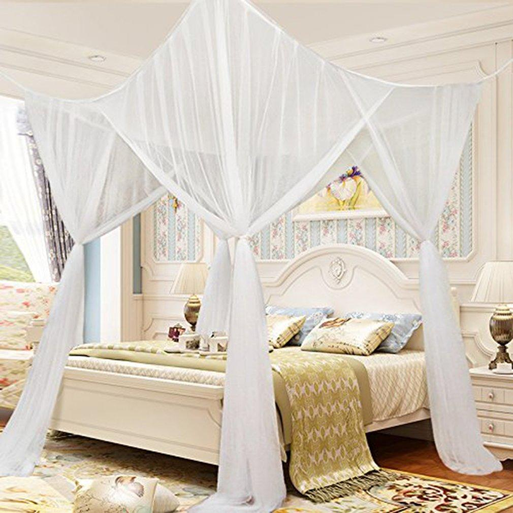 Twin Mosquito Net 4 Corner Post Bed Canopy Mosquito Net for Student Dormitory White Mosquito Netting Twin Full Queen Size Netting