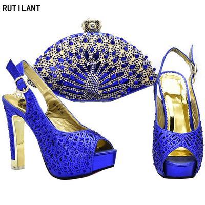 bab251edffe6b İtalyan tasarımcı Ayakkabı ve çanta seti eşleşen elmas taklidi kadınlarla İtalya  Nijerya yerinde dekore edilmiş
