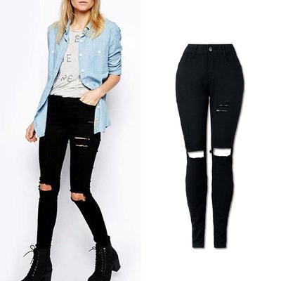 59400dcb16d Винтажные дыру разорвал джинсы женские высокой талии узкие джинсы карандаш  джинсовые брюки
