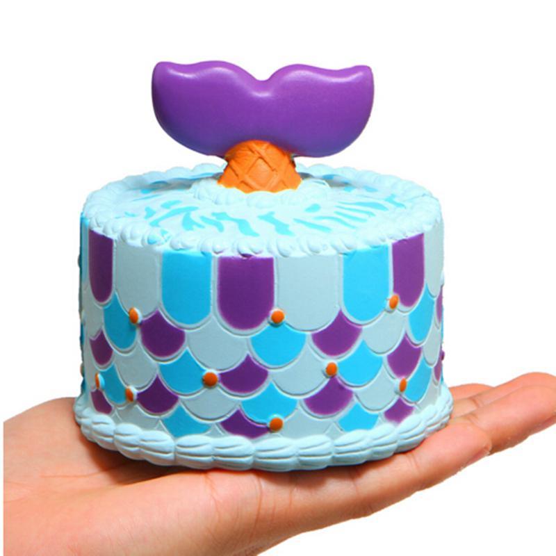 1671f727e Juguete blandito squishy lindo unicornio / sirena / ballena torta squishies  crema de crecimiento lento perfumada juguete de compresión correas de ...