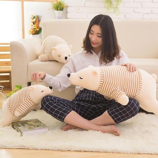 羽绒棉及软北极熊公仔卡通可爱趴趴熊长抱枕毛绒玩具