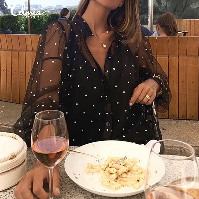 Летняя женская сетка Блузка Рубашка Сексуальная прозрачная футболка Длинные рукава Смотрите через вершины Cover Ups фото