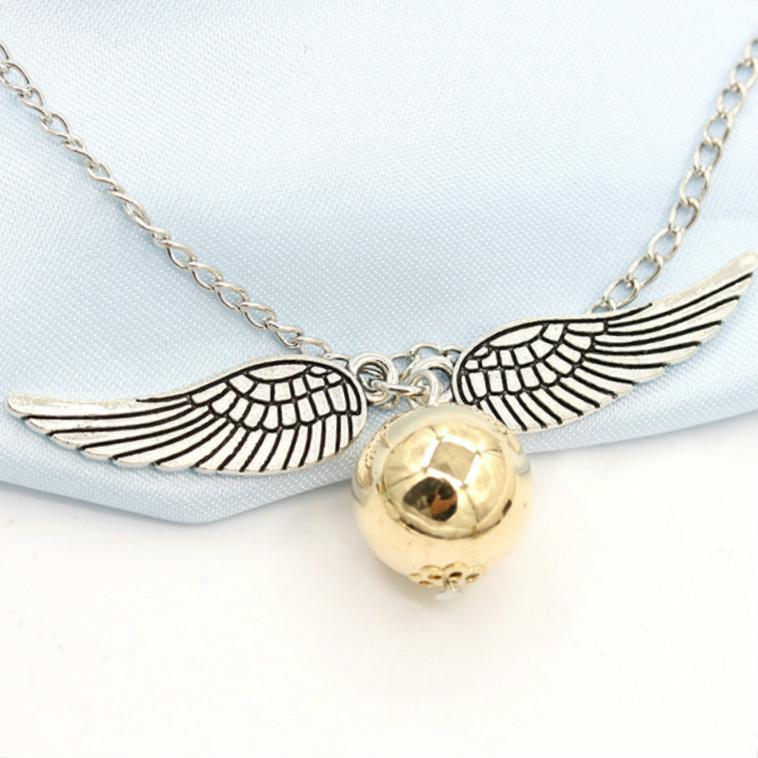 Golden Snitch Necklace Harry Potter and The Deathly Hallows Angel Wings Ball Necklace for Women Girl
