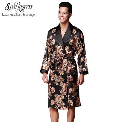 11c5e35e9a Home Mens Bathrobe Brand Robes Faux Silk Men s Sleepwear Summer Long  Sleeved Luxurious Clothing