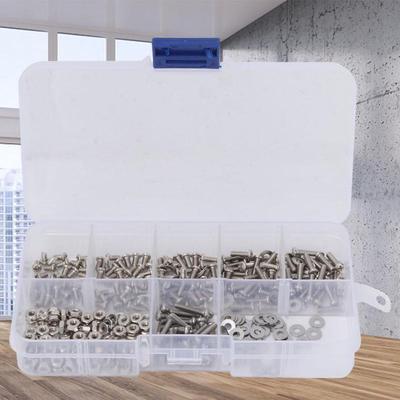 Screws 150pcs//Set M2 M2.5 M3 M4 M5 Screws Bolts Nuts Washers Assortment Kit in Box White Waterproof Fasteners Assortment