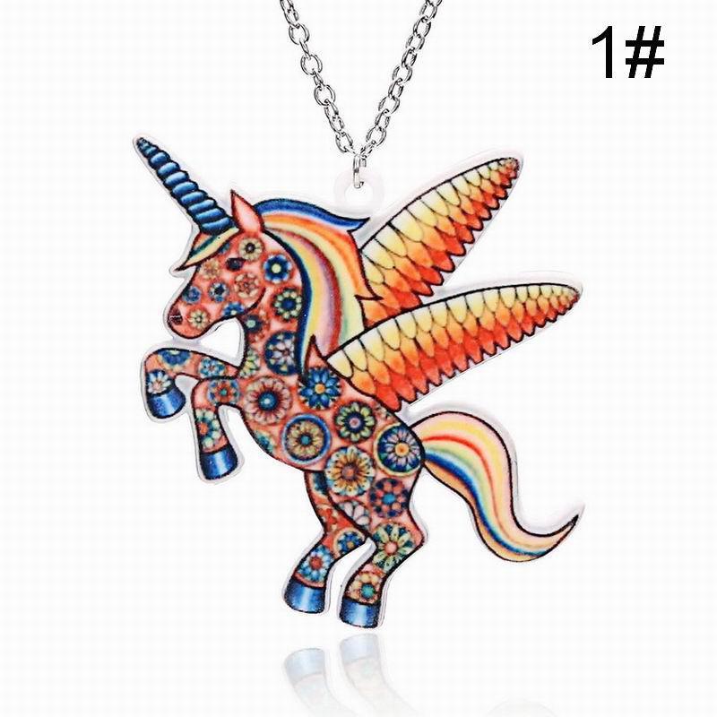Cute Colorate Desene Animate Copii Cadou Copii Ponei Forma Acrilice Unicorn Colier
