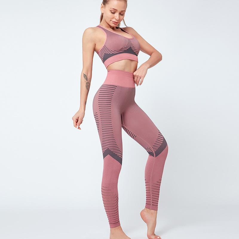 Womens 2 Pieces Yoga Sports Suit Seamless High Waist Leggings and Stretch Sports Printing Bra Yoga Activewear Set
