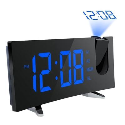 Night Version Projection Alarm Clock with Radio LED 5 Curved-Screen Digital Dimmable Projection
