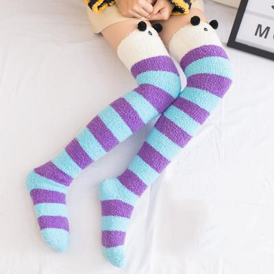 Kids Girls Baby Knitted Over Knee Socks Striped Thigh High Winter Warm Stockings