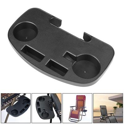 2X Clip On Side TableTray,Chair Side Tray with Mobile Device Slot and Cup Holder