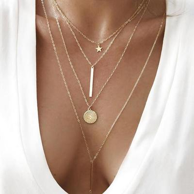 Boho Necklaces For Women Vintage Gold Silver Chain Long Star Statement Necklace Pendant Bohemian Choker Jewelry