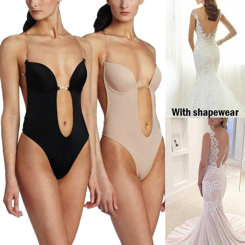 Details about  /Women/'s Deep V Bodysuit Backless U Plunge Padded Bra Body Shaper Thong Shapewear