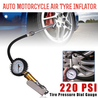 220PSI Portable Tire Tyre Inflator Air Auto Motorcycle Truck Inflating Tool Pressure Dial Gauge