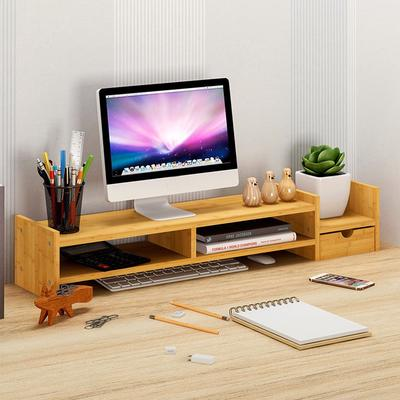 TV Monitor Stand Riser Computer Desktop with Storage Organizer Bamboo 2 Tiers