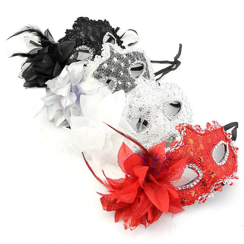 Stunning Ladies Black /& Red Venetian Masquerade Party Carnival Eye Mask /& Flower