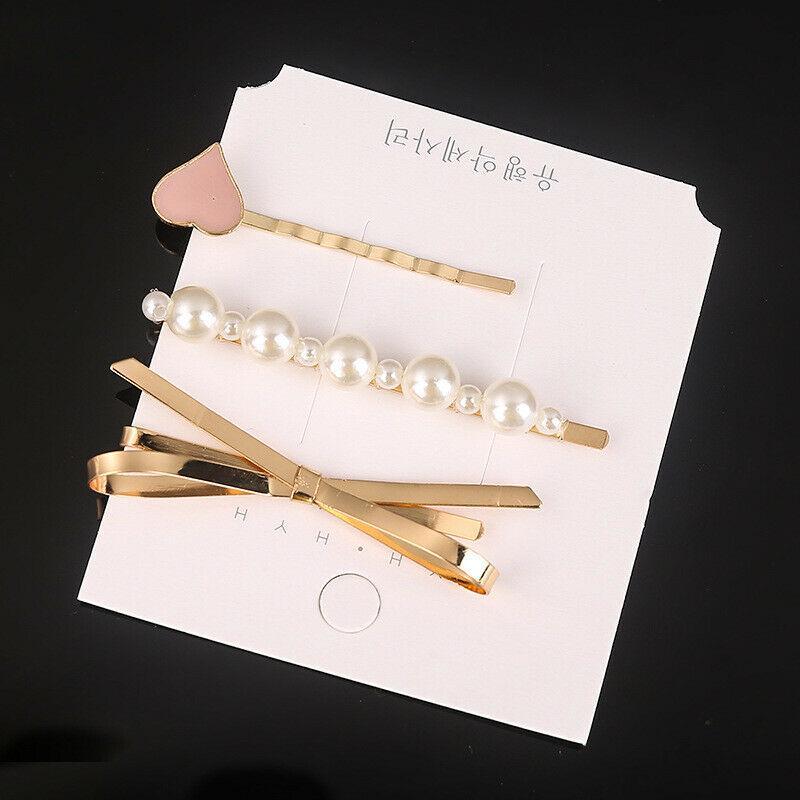 Korean Women/'s Hair Slide Clips Snap Barrette Hairpin Set Pins Accessories