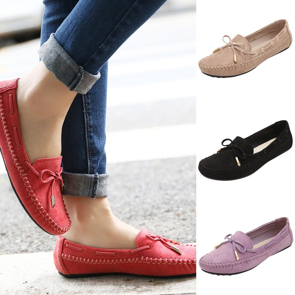 Fashion Shoebox Womens Slip on Loafers Shoes Comfortable Round Toe Classic Ladies Casual Wild Breathable Driving Flats Loafers