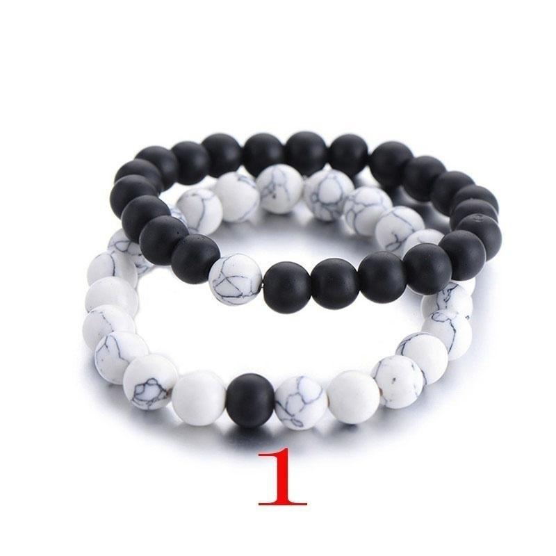 4f272fbd382a Esposas clásico piedra natural en blanco y negro yin yang rosario pulseras  turquesas pulsera de distancia de parejas