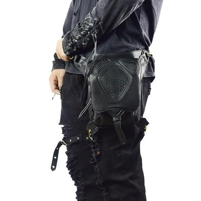 Gothic Rock Skull Waist Packs Punk Leather Fanny Pack Retro Black Waist Bag for Men