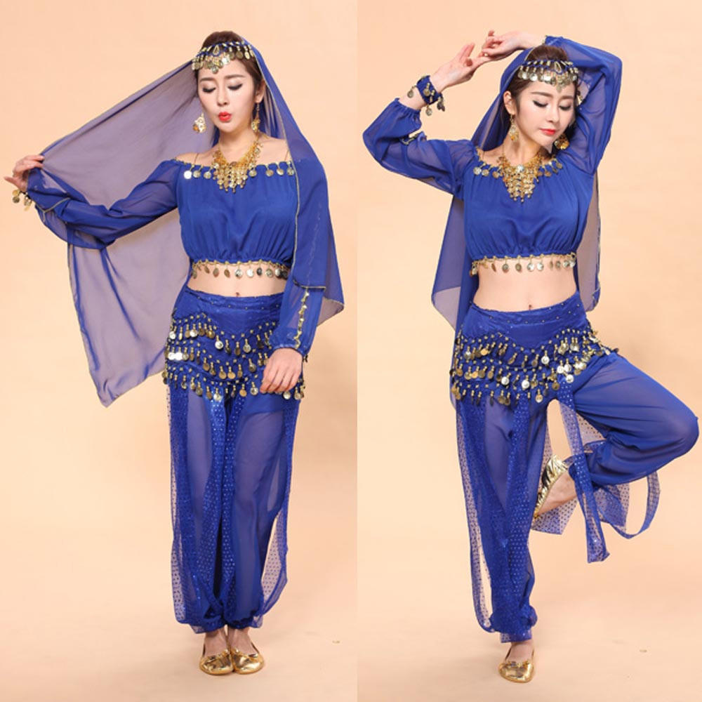 Women Belly Dancing Costume Set Girls Indian Dance Carnival Outfits 4//2pcs Suit