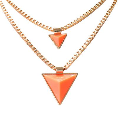 Fashion Women Jewelry Accessories Acrylic Necklace Triangle Double Necklace