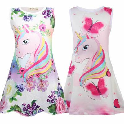 Kid Girl Casual Unicorn Butterfly Swing Dress Sleeveless Summer Sundress Holiday