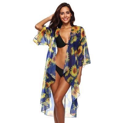 6ab1f903e5 Women Sunflower Chiffon Bathing Beach Bikini Swimsuit Swimwear Smock Cover  Up