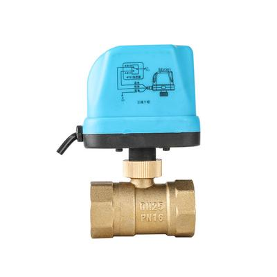 V/álvula de bola de lat/ón motorizada electrica 1,1//2,3//4,DN25 AC 220V Impermeable 2 v/ías y 3 cables con actuador