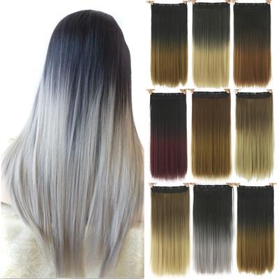 Femei Culoare Gradient Lungi Drepte Meşe Clipul în Extensii De Păr