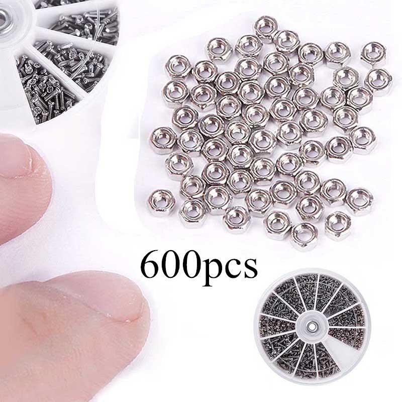 600pcs//set  Nut Screws Electronics Assortment Mixed M1 M1.2 M1.4