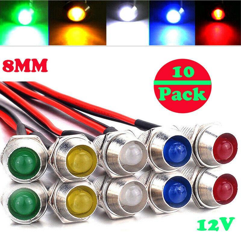 blanc 4 pcs 12V universel indicateur de tableau de bord LED voyants du panneau LED lampe ampoules de tableau de bord LED pour voitures bateaux camions 8mm LED pilote