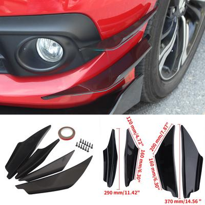 1 Set Black Bumper Lip Fins Canards Splitters Body Spoiler Sporty JDM Racing Style Diffuser Universal Fit