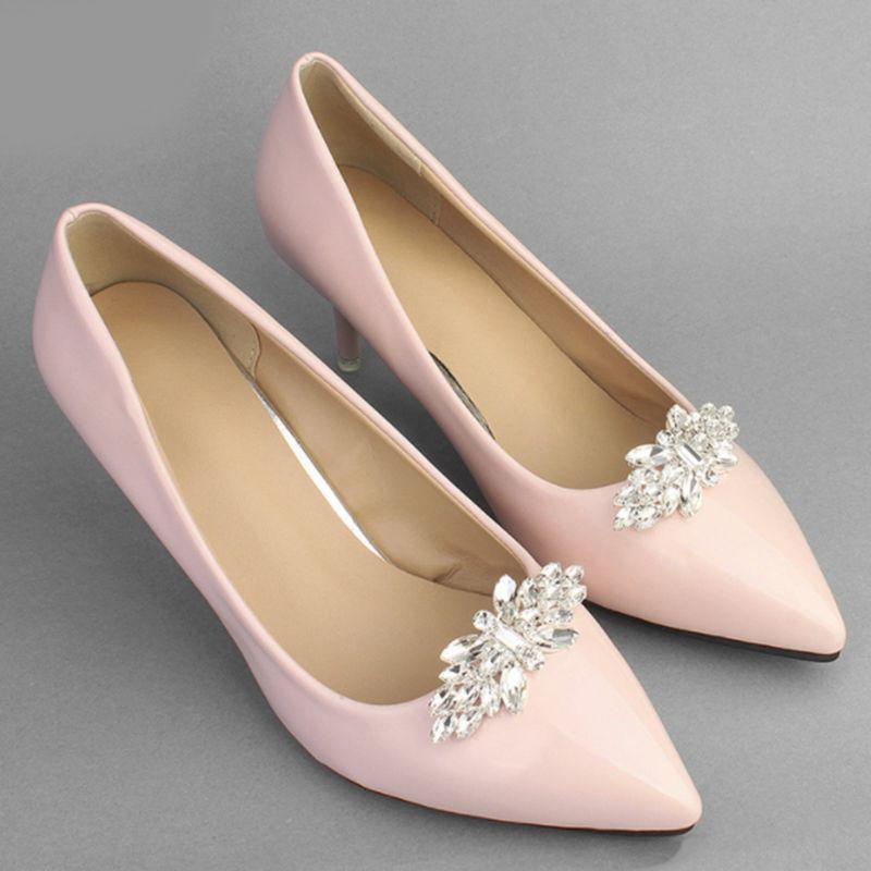 2x Bridal Wedding Elegant Bow Shoe Charms Buckle Clip Accessories Women Lady