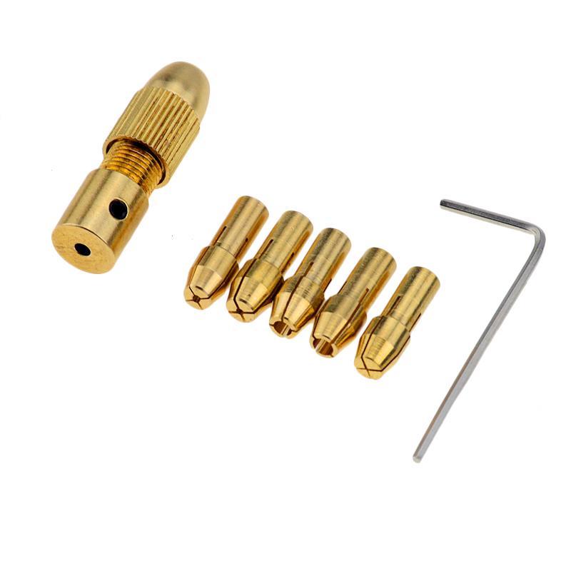 7pcs 3.17mm Mini Self-Tightening Drill Chucks Support 0.5-3.0MM Drill Bit