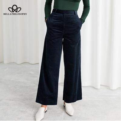 ef773530578 Вельвет широкий ноги штаны Office брюки повседневные плоский середине  твердых женщин брюки уличной трусики