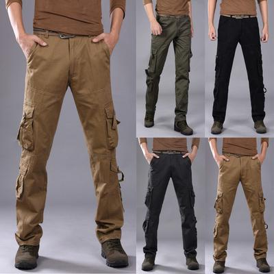 Outdoor Mens Soft Shell Camping Cargo Pants Combat Hiking Trousers Viintage Work