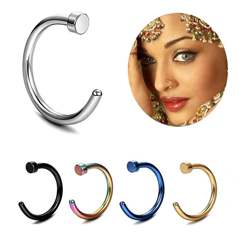 Clip On Earrings for Women Girls Men Stainless Steel Round Nose Ring Piercing Earring Stud Stud Nasal Septum Bone Jewelry Accessories Gifts