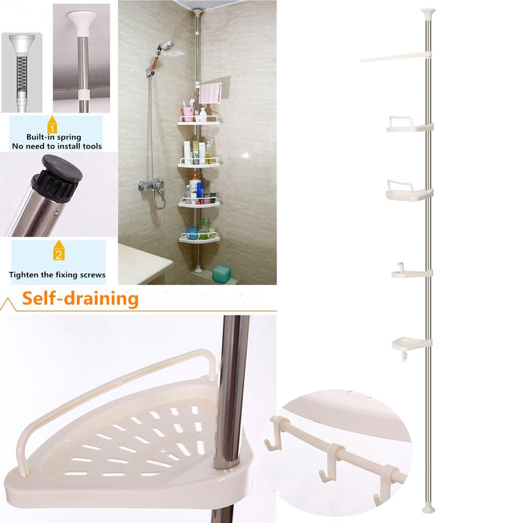 4 Tier Adjustable Shower Shelf Rack Caddy Organiser Telescopic Bathroom Corner Buy At A Low Prices On Joom E Commerce Platform