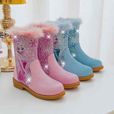Girls' Short Boots Children's Martin Boots Sequin Plush Snow Boots Ice Snow Aisha Cotton Boots Princess Boots