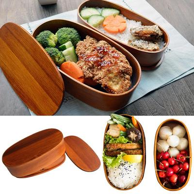 Japanese Wooden Bento Lunch Box Food Container Rice Dish Bowl Double Layers