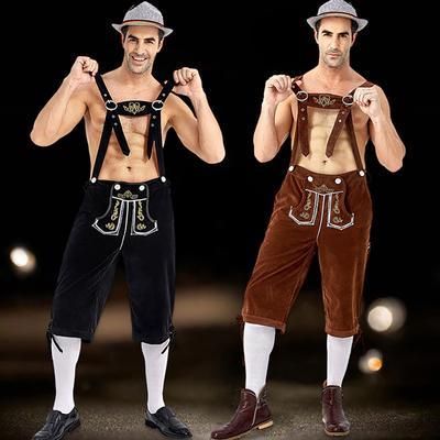 Mens Oktoberfest Lederhosen Beer Bavarian Fancy Dress German Dungarees Costume