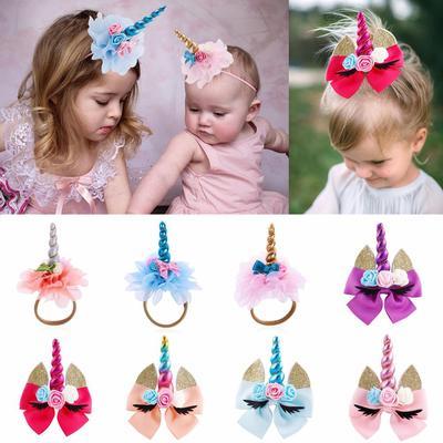 Girls Hair Clips Baby Elastic Hairband Cat Ears Hairpins Unicorn Horn Headband