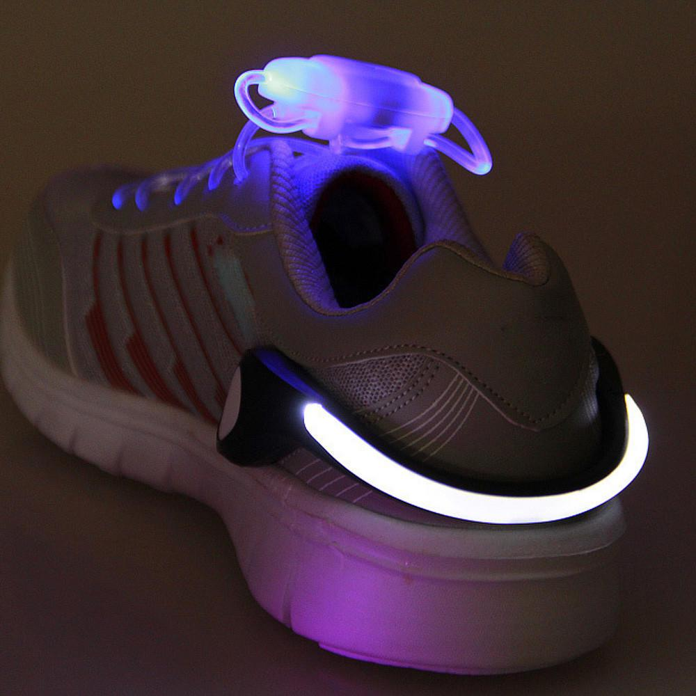 LED BATTERY SHOE glow Safety Light CLIPS for running walking dance party PAIR