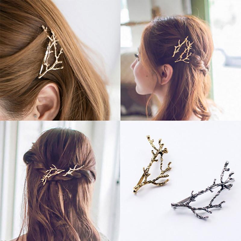 Fashion Women Hair Clip Punk Metal Scissors Comb Leaf Hair Pin Hair Accessories