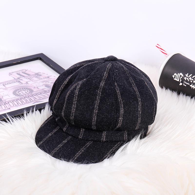 Sombrero versión coreana de de lana retro sombrero de pintor ropa casual sencillo sombrero octogonal creativo gorro de boina