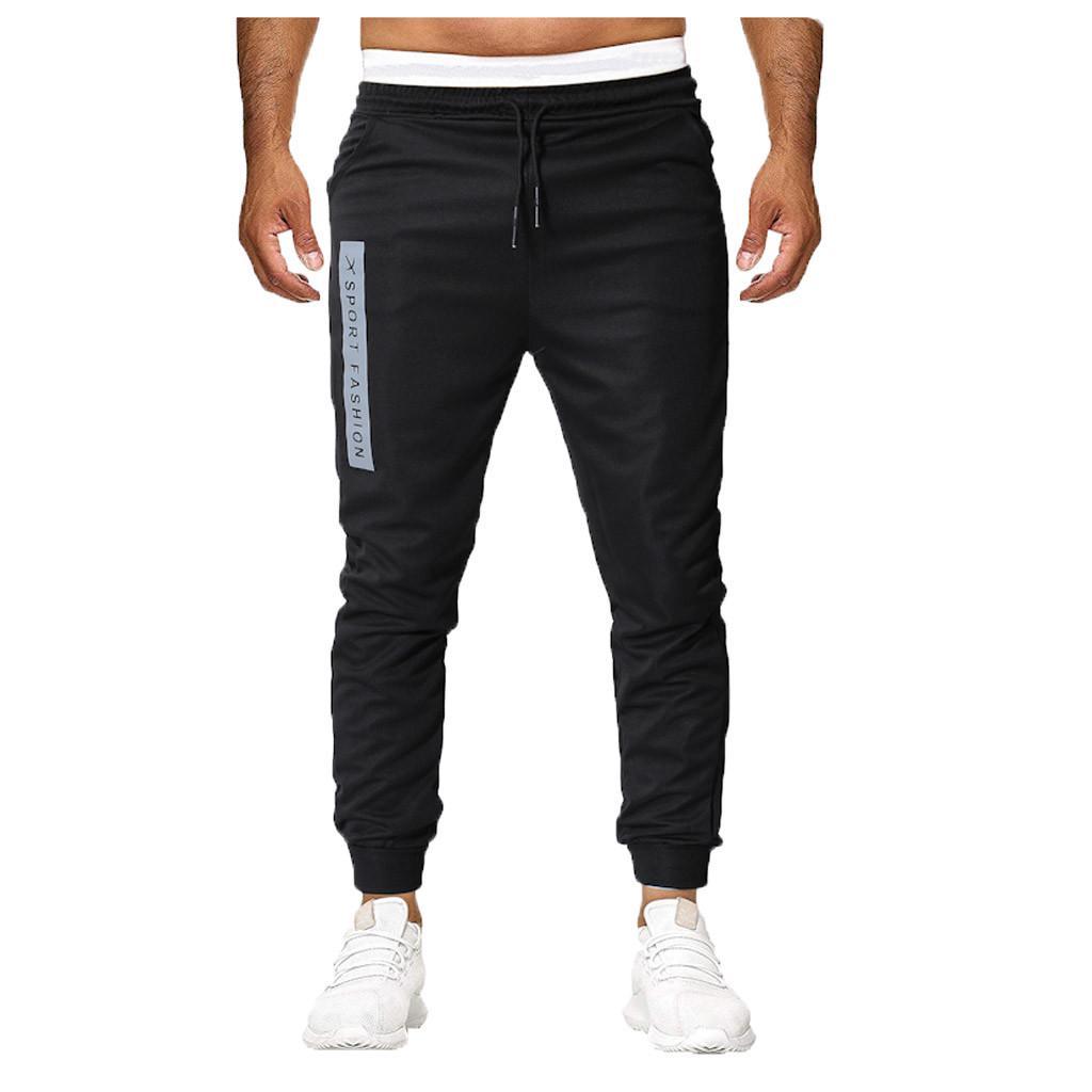 Fashion Mens Summer Casual Sports Zipper Pocket Long Pants Trousers Elastic Tie