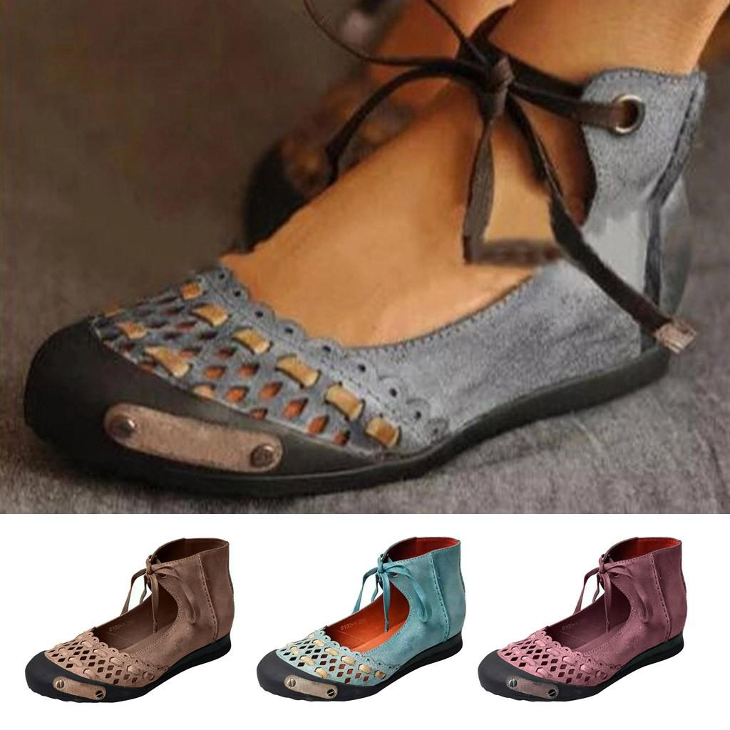 Frauen Sommerrunde Casual Ankle Strap Retro Hallow Classic Sandschuhe