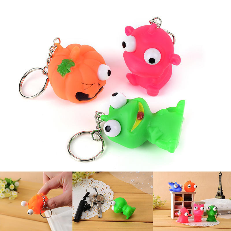 Luggage & Bags 1pc Mini Animal Anti Stress Ball For Bag Accessories Fun Antistress Extruding Big Raised Eyes Doll Squeezing Pandent