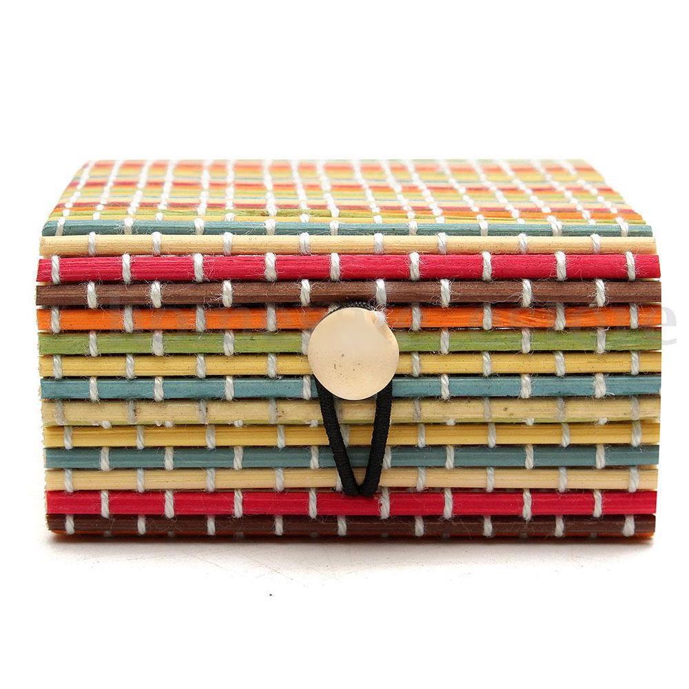 Anillo Collar Aretes De Bambú Estuche de Madera Joyería Regalo de titular de cajas de almacenamiento