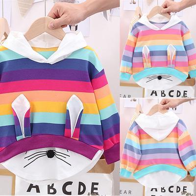 Toddler Kids Striped Rainbow Cartoon Tops Baby Girls Hooded Sweatshirt Coat Tops